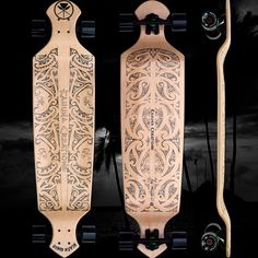"Drop Deck 43"" Longboard Complete - Black Wave (Natural) 