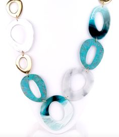 Large Turquoise Link Long Necklace