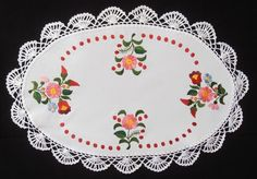 NEW! Hungarian crocheted hand-embroidered doily 50x32cm in Crafts, Needlecrafts & Yarn, Embroidery | eBay