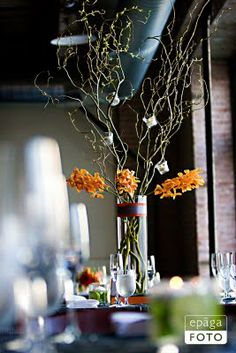 Simple Elegance: Real Weddings: Lauren + Chris courtesy of #EpagaFoto #tallcurlywillowcenterpiece #branchesandtwigsfloral #simpleelegance @iplanyourwed #kansascity #weddingplanner www.iplanyourwedding.com