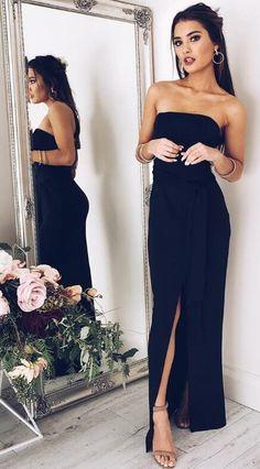 strapless navy blue long slit evening dress, 2018 prom dress, navy blue long prom dress with slit, strapless long chiffon prom dress party dress