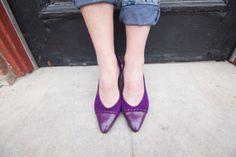 Vintage 80s Perfect Purple Pumps Suede with Braid Embellishment Size 10