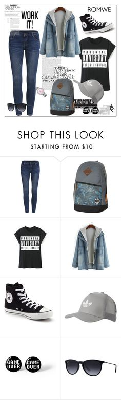 """ROMWE"" by aceboss ❤ liked on Polyvore featuring Element, Converse, adidas Originals, Ray-Ban and Swarovski"