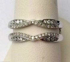 White Gold Prong Set Solitaire Enhancer Diamond Ring Guard Wrap Jacket (0.33ct. tw)-RG221685375240