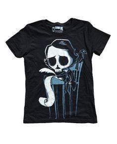edgar allan poe tshirt, poe skull, poe skull shirt, cute goth things, buy cute goth, buy emo,