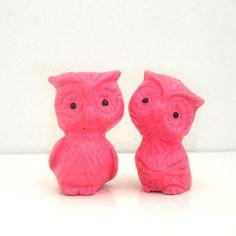2 Handmade Chalkware Owl Figurines