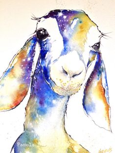 Cosmo the Goat. A personal favorite from my Etsy shop https://www.etsy.com/listing/218786993/goat-art-print-watercolor-art-print-farm #goatart #goat #goats #art #watercolor