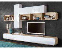 Composition murale design blanc laqué/noyer Pablo | Salons, TVs and ...
