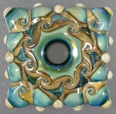 Handmade Lampwork Glass Focal Bead Sand Sea Squared Leah Nietz SRA N39 | eBay