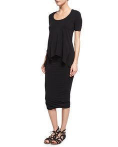 Short-Sleeve+Scoop-Neck+Tee+&+Twist-Hem+Tube+Skirt+by+Urban+Zen+at+Bergdorf+Goodman.