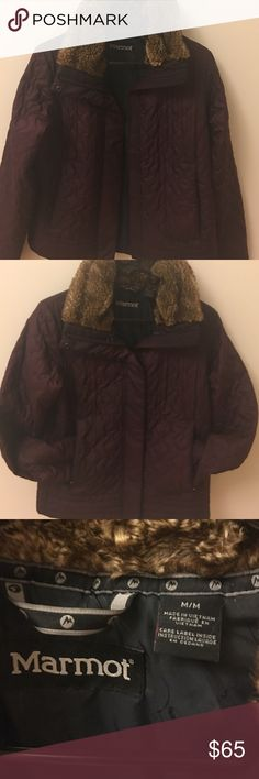 Marmot Faux fur jacket So rich in color. So warm and stylish. Ultra light and side pockets with zippers. Perfect choice for this cold weather Marmot Jackets & Coats Utility Jackets