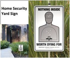 These bright easy to read Home Security Signs and Alarm Stickers help protect your home or business. - The Home Security Signs are available with or without aluminum stakes. Home Security Tips, Security Cameras For Home, Home Security Systems, Dog Signs, Funny Signs, Scary Dogs, The Neighbor, Home Protection, Do It Yourself Home