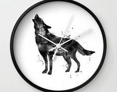 Wolf Clock, Wolf Wall Clock, Watercolor Clock, Dog Clock, Wolf Lover, Black Wolf, Watercolor Wolf, Animal Clock, Howl Clock, Native American