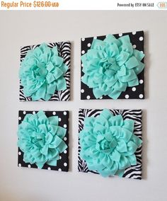 BLACK FRIDAY SALE Wall Decor Set Of Four Mint Dahlias by bedbuggs