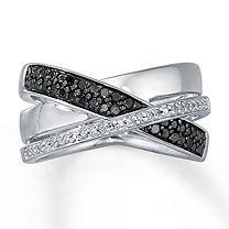 (Because 3 strands aren't easily broken) ¼ Ct. t.w. Black & White Diamond Ring for Her
