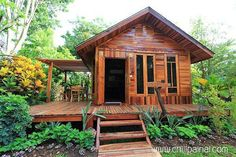 New House Tiny Plans Log Cabins Ideas Bamboo House Design, Tropical House Design, Small House Design, Tropical Houses, Hut House, Tiny House Cabin, Small Wooden House, House On Stilts, Facade House