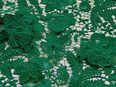3D Emerald Lace Fabric Embroidered Flowers Solid Peonies Hollowed Florals Wedding Bridal Lace Fabric Costume Lace Curtain Costume Supplies Elegant