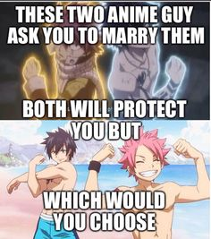 I don't like fairy tail but I like natsu and grey they're awesome Fairy Tail Meme, Fairy Tail Quotes, Fairy Tail Gray, Fairy Tail Nalu, Fairy Tail Ships, Fairy Tail Family, Fairy Tail Couples, Natsu And Gray, Tsurezure Children
