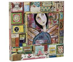 The Kelly Rae Roberts Collection Love Whispers Patchwork Boxy Art Kelly Rae Roberts, Eclectic Taste, Shabby Chic, Gift Wrapping, Joy, Invitations, Wall Art, Canvas, Frame