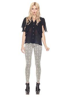 Women's Designer Clothes   Nicole Miller Official Site, NIMI-3249 SERPENT JACQUARD PANT, nicolemiller.com