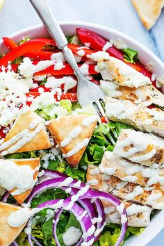 A quick and healthy gyro-inspired salad with crunchy romaine, red onions, and peppers, topped with juicy seasoned chicken , feta cheese, pita croutons, and creamy tzatziki dressing! Sooooooo it's twenty 1-6. and I'm freaking out just a little bit. Time just seems to move faster and faster the older I get and now that I …