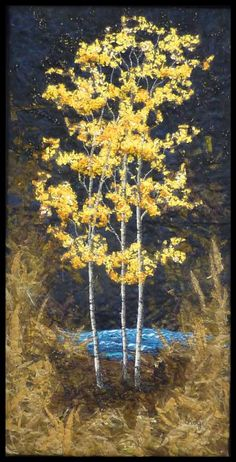 Amazing artist, Native Trees - Autumn Birches with Lake - Lorraine Roy: Textile Art