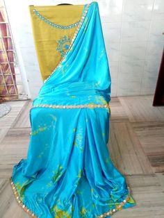 Satin shibouri sarees with blouse embroidery and mirror work lace Shibori Sarees, Silk Sarees, Elegant Fashion Wear, Trendy Fashion, Indian Bridal Fashion, Bridal Style, Blouse Designs, Tie Dye Skirt, Satin