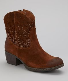 Crafted with a touch of western appeal, these suede cowboy boots were made for the gal who's ready to grab life by the horns. Featuring an almond-toe design, pearly studs and calf-kissing height, this pair is ready to take on the day in style. 2'' heel4'' shaft12'' circumferenceZipper ...