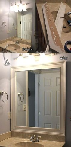 Add wood molding to bathroom mirror to give it a little facelift. Add wood molding to bathroom mirror to give it a little facelift. Add wood molding to bathroom mirror to give it a little facelift. Bathroom Mirror Makeover, Bathroom Mirrors Diy, Budget Bathroom, Simple Bathroom, Bathroom Makeovers, Bathroom Ideas, Modern Bathroom, Diy Mirror Decor, Cabinet Makeover