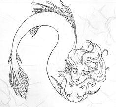 Line-art- Angler Mermaid by Rachael-Lee on DeviantArt