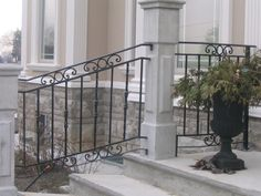 Wrought+Iron+Porch+Railings | Wrought Iron Porch Railings | Sharing Interior Designs , Architecture ... Porch Step Railing, Wrought Iron Porch Railings, Cast Iron Railings, Cast Iron Gates, Iron Handrails, Stair Railing Design, Balustrades, Iron Stair Railing, Metal Railings