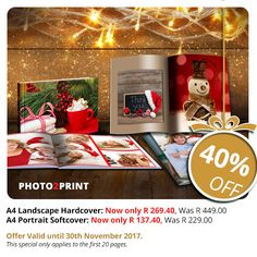 It is never too early to stock up for Christmas! This great special offer of 40% off on A4 landscape personalised hardcover and A4 portrait personalised softcover Photobooks is only valid until 30th November 2017.