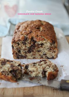 Chocolate Chip Banana Bread- What you ask would make Banana Bread better?? CHOCOLATE CHIPS!!! Wanna try this without the nuts!
