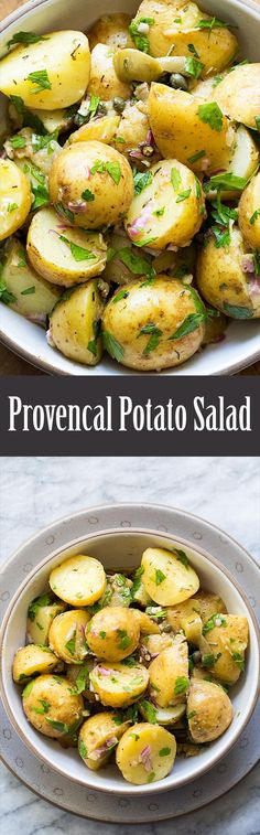 Provencal Potato Salad ~ New potatoes or fingerlings tossed warm in a Dijon vinaigrette with capers, olives, garlic, and parsley.  ~ http://SimplyRecipes.com