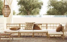 Bamboo Sofa, Bamboo Furniture, New Furniture, Outdoor Furniture Sets, Outdoor Couch, Outdoor Decor, Bamboo House, Coffee Table Design, Outdoor Settings