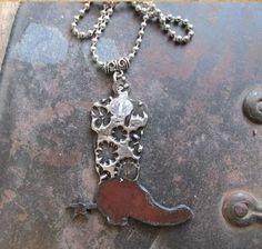 Metal Cowboy boot Necklace