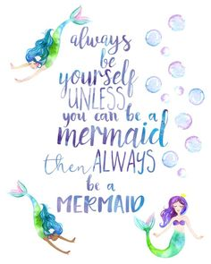 Mermaid Decor Nursery Wall Art Mermaid Print Quote Girl Room Decor Watercolour Nursery Always Be Yourself Always be a Mermaid Big Girl Rooms art Decor Girl Mermaid Nursery Print quote room Wall watercolour Mermaid Nursery Decor, Mermaid Bedroom, Nursery Wall Art, Girl Nursery, Mermaid Kids Rooms, Mermaid Bathroom Decor, Sea Nursery, Mermaid Wallpaper Backgrounds, Mermaid Wallpapers