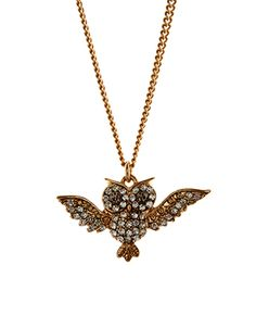 Crystal Flying Owl Long Pendant | Clear | Accessorize