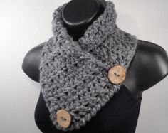 Gray Grey Chunky Crochet Scarf Cowl, Neck Warmer, with Buttons