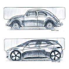 car sketch Volkswagen past and future by designer Igor Shitikov Volkswagen, Mercedes Benz Unimog, Industrial Design Sketch, Car Design Sketch, Car Illustration, Hand Sketch, Expensive Cars, Transportation Design, Automotive Design