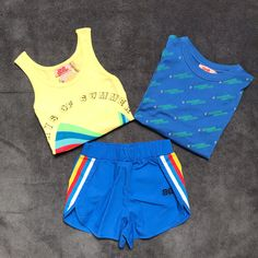 Ss20 for boys and girls 😄 Bandy, T Shirts, Boy Or Girl, Bikinis, Swimwear, Gym Shorts Womens, Jumpsuit, Ootd, Turquoise