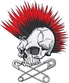 punk skull Royalty Free Stock Vector Art Illustration