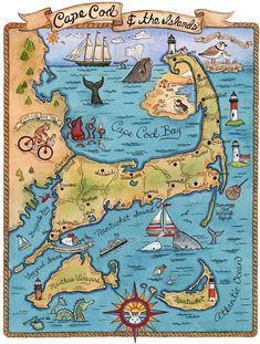 Map of Cape Cod and the Islands! This is a print from an original watercolor and ink illustration. The image measures 14 x 18 printed on Cape Cod Map, Gravure Illustration, New York City Map, Ink Illustrations, Watercolor And Ink, Travel Posters, New England, Art Prints, Comics
