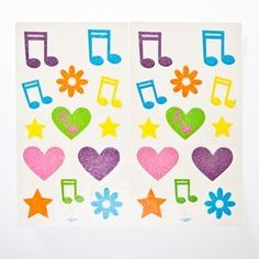 SALE Glitter Hair or Skin Music Tattoos SALE by Century Novelty. $1.99. March To Your Own Beat. These Glitter Hair Or Skin Music Tattoos are the perfect party favor for your upcoming music party. These tattoos are also a great anytime activity for your children. Approximately 25 glittering tattoos per package. Assorted music notes, stars, flowers, and hearts. Multiple colors. Easy to apply and remove. Sale items are non returnable. Music favors, toys, and gifts are a great...
