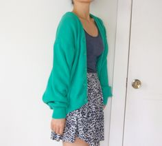 Vintage women kelly mint green coral teal oversized slouchy grandpa sweater cardigan (small). $45.00, via Etsy.