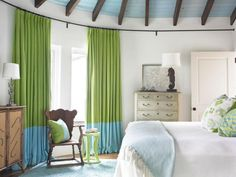 White Coastal Bedroom Boasts Lime Green Curtains