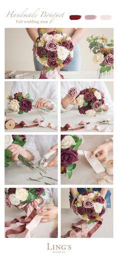 Trendy Burgundy Bridal Bouquets In Fall, 10 Off First Order Diy Wedding Bouquet, Rose Wedding, Fall Wedding, Wedding Flowers, Dream Wedding, Bridal Bouquets, Boquet, Wedding Stage, Burgundy Wedding