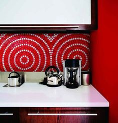 Kitchen Backsplash Red spanish kitchen with sweet talevera looking tiles. | house it