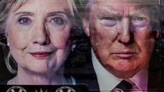 Los candidatos a la presidencia de EEUU, Hillary Clinton y Donald Trump, retratados en un afiche en la Universidad de Hofstra (DPA)