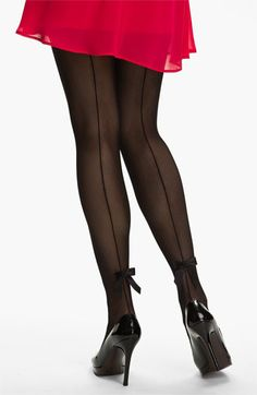 Pretty Polly Back Seam & Bow Tights (Nordstrom Exclusive) available at #Nordstrom